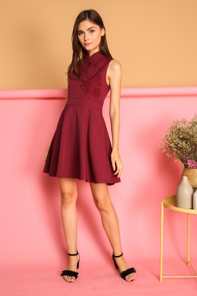 Calinda Oriental Crochet Dress in Red (L)