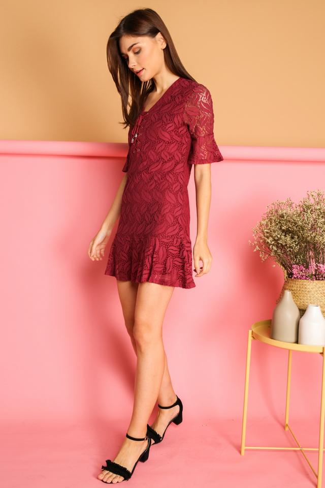 Kadie Lace Up Bell  Sleeve Dress in Maroon