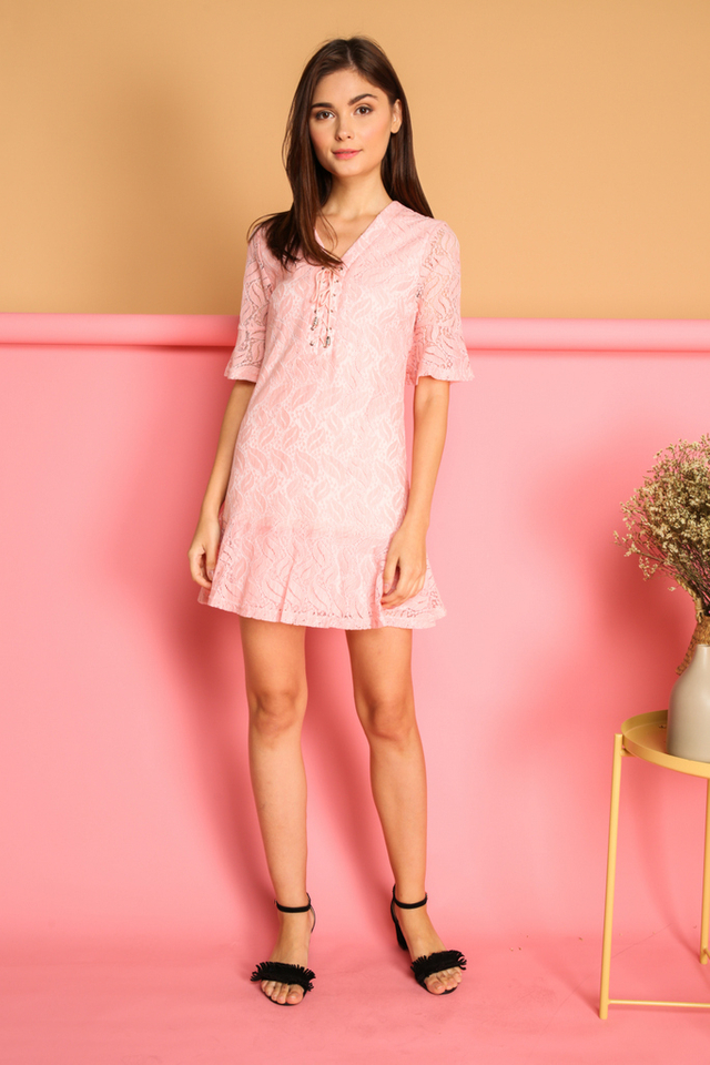 Kadie Lace  Up Bell  Sleeve Dress in Pink