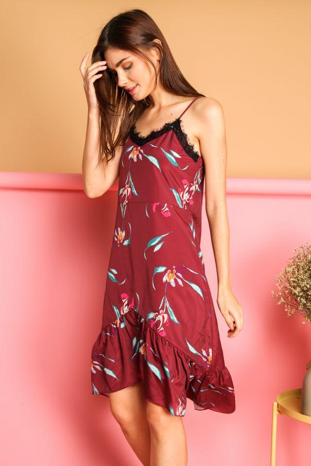 Karyn Lace Ruffled Hem Slip Dress in Wine Red (L)