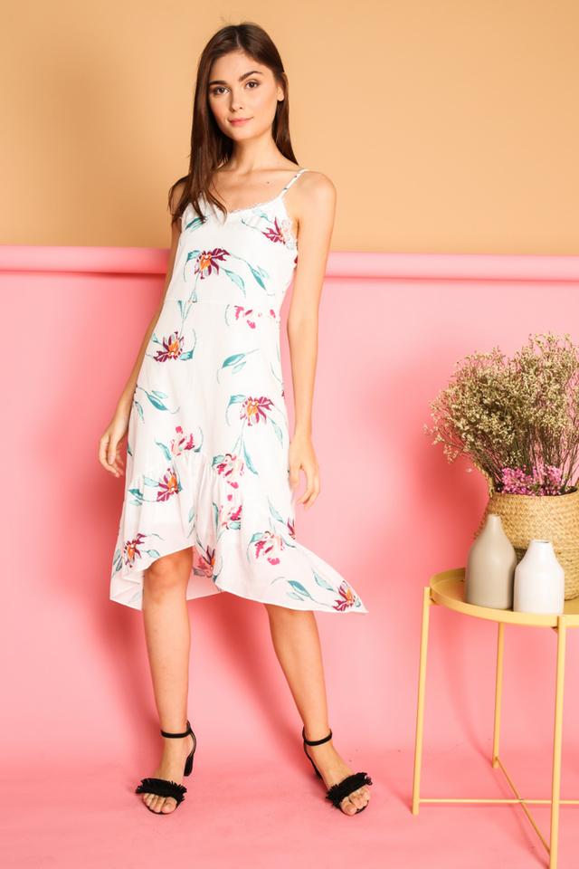 Karyn Lace Ruffled Hem Slip Dress in White