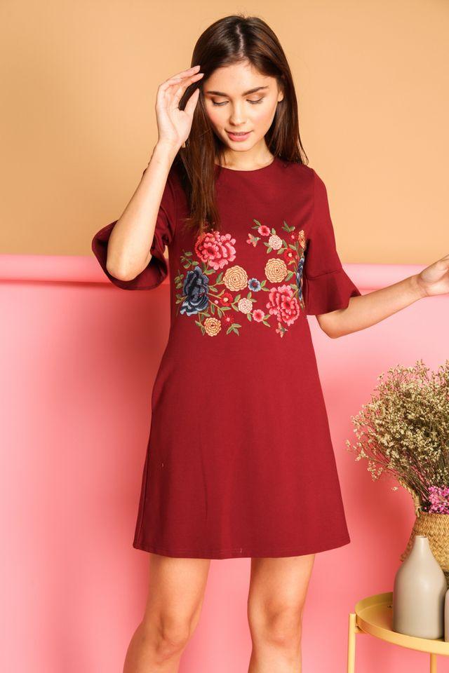 Galenia Garden Bell Sleeve Dress in Maroon