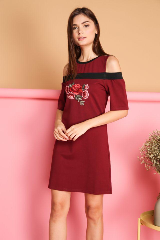 Tisa Rose Patch Cold Shoulder Dress in Maroon