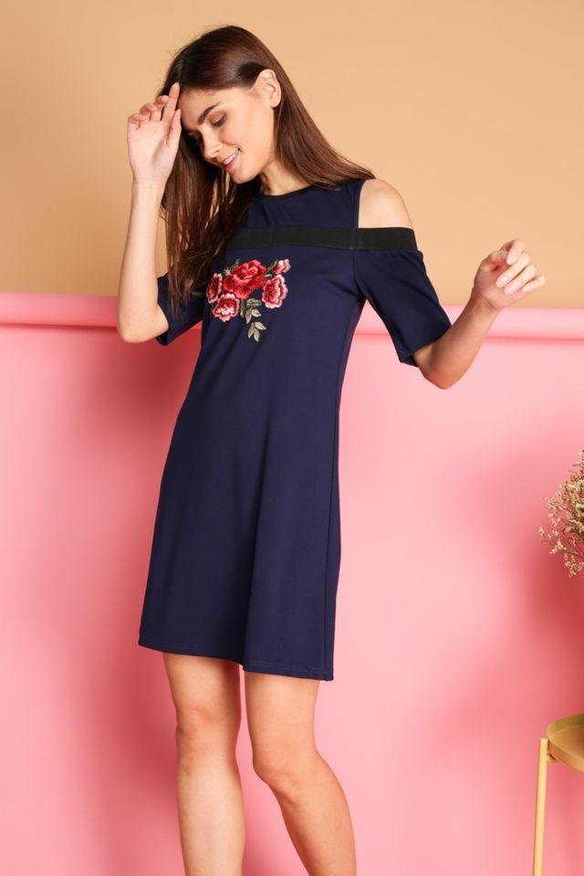 Tisa Rose Patch Cold Shoulder Dress in Navy