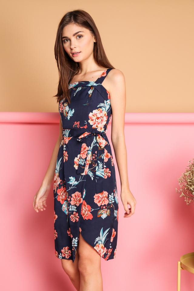 Cira Floral Tie Waist Wrap Dress in Navy