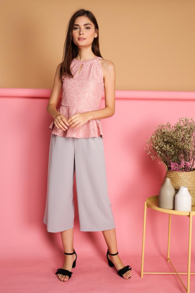 Micaela Keyhole Lace Peplum Top in Dusty Pink