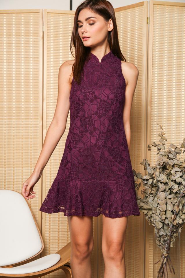 Freida Cheongsam Lace Dropwaist Dress in Purple