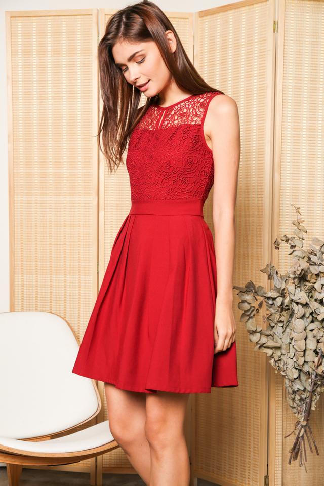 Carla Crochet Pleated Flare Dress in Red