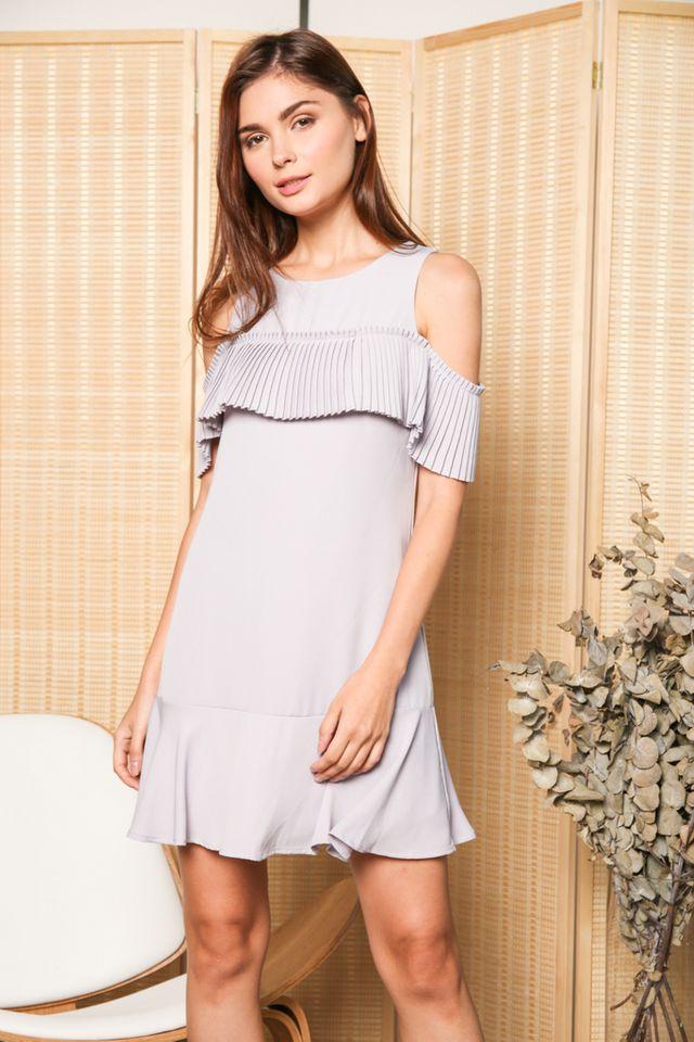 Perla Cold Shoulder Pleats Dress in Grey (XS)