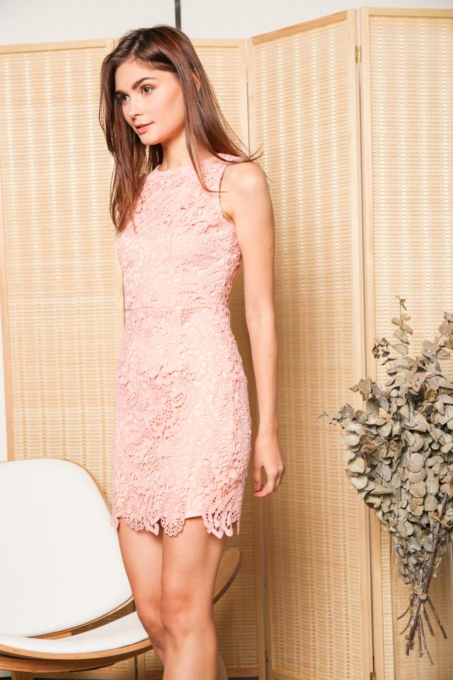 Edwina Crochet Dress in Peach (XL)