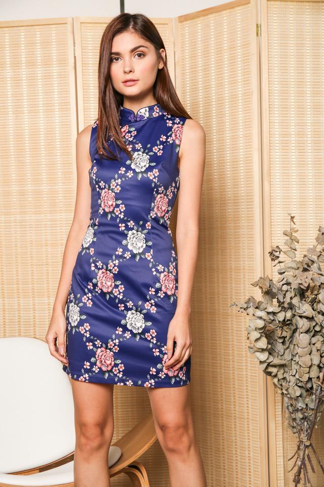 Alyshia Floral Qipao Dress in Cobalt