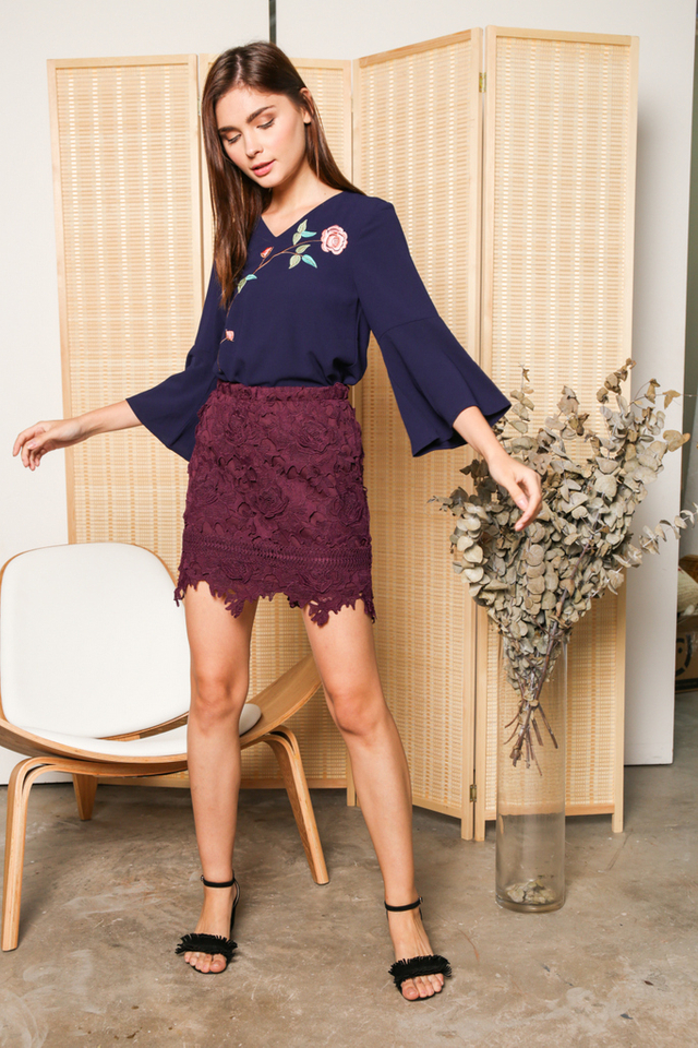 Alanza Rose Embroidery Bell Sleeve Top in Navy