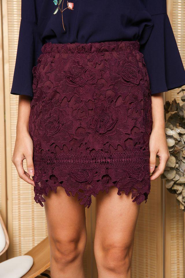 Karin Rose Crochet Skirt in Purple (XS)