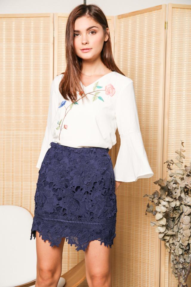 Karin Rose Crochet Skirt in Navy