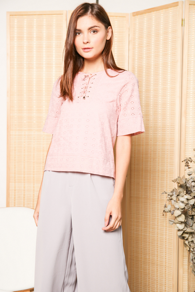 Violette Lace Up Eyelet Top in Dusty Pink