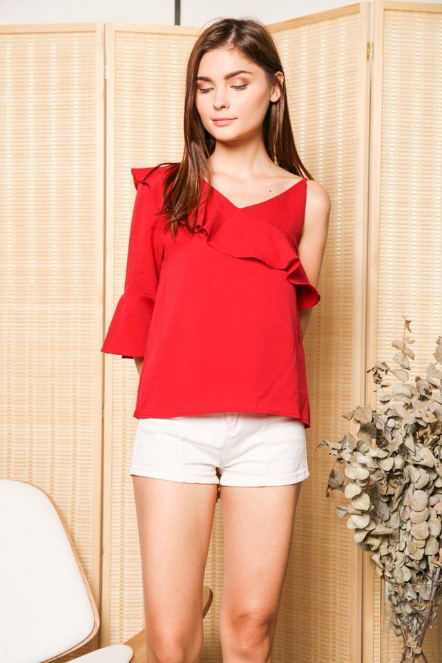 Keline One Shoulder Ruffle Sleeve Top in Red (XL)