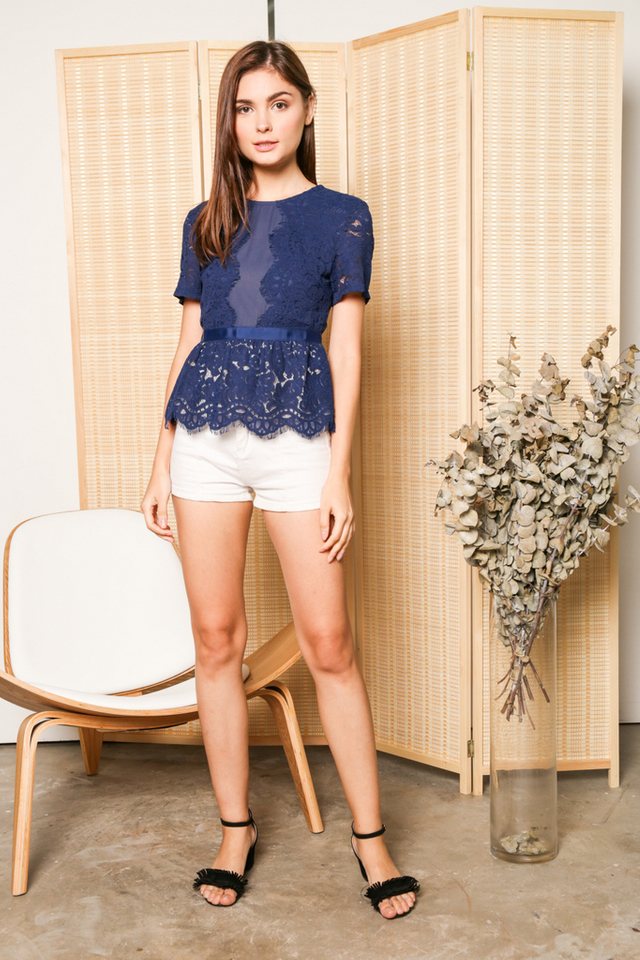 Quentin Scallop Lace Peplum Top in Navy (XS)