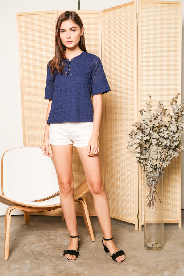 Violette Lace Up Eyelet Top in Navy