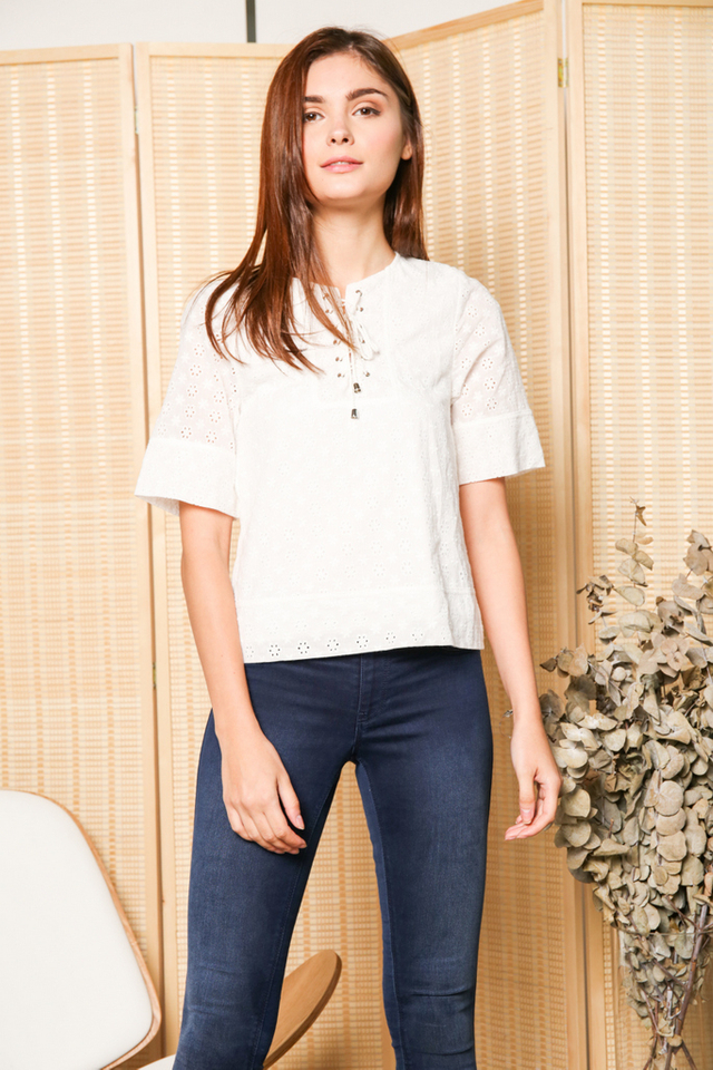 Violette Lace Up Eyelet Top in White