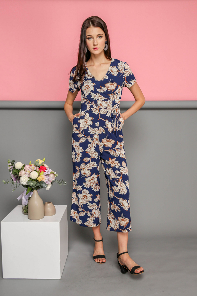 Nellie Printed Jumpsuit in Navy Blue