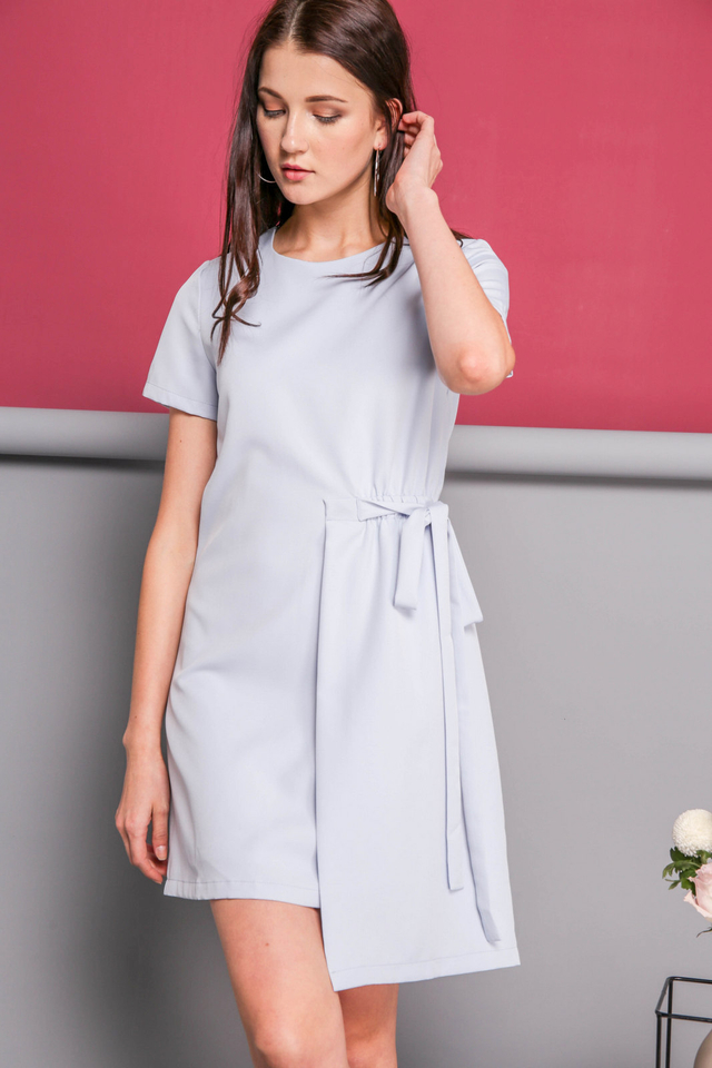 Delphine Faux Layer Dress in Powder Blue