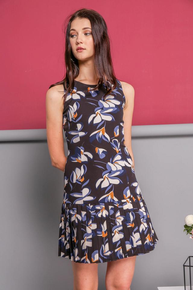 Joie Pleated Printed Dress in Black