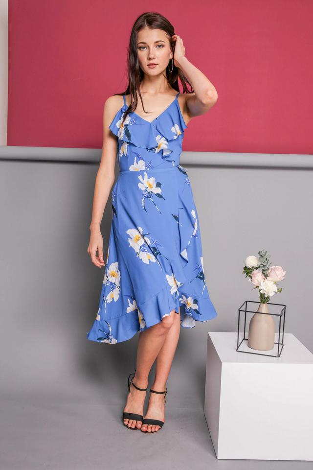Teresa Ruffled Midi Dress in Blue