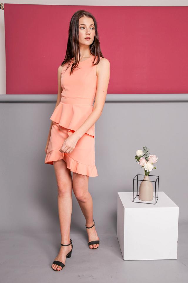 Michelle Ruffle Dress in Peach