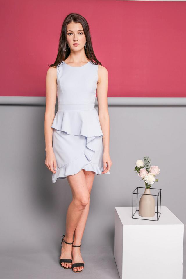 Michelle Ruffle Dress in Powder Blue
