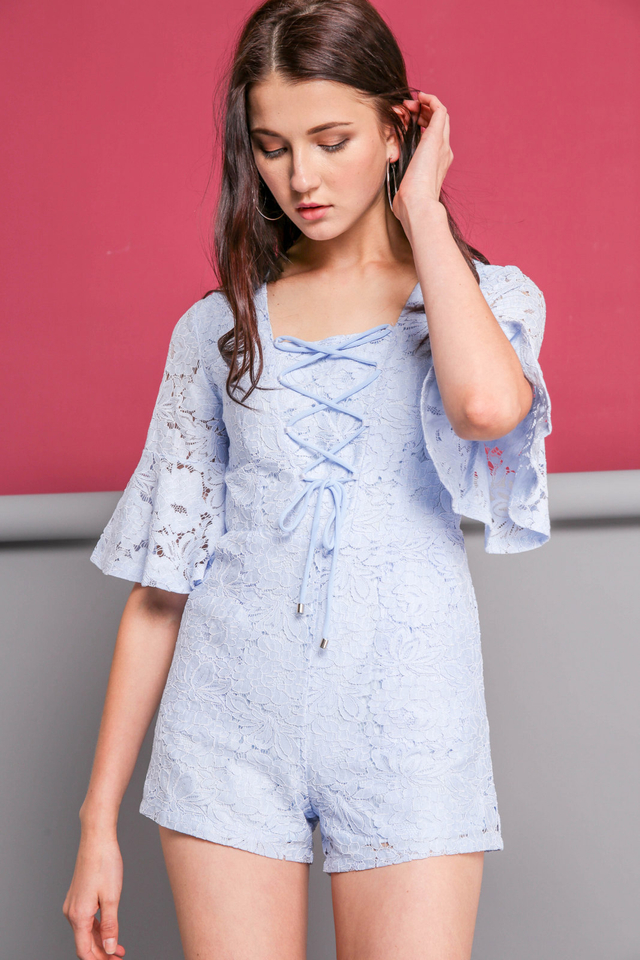 Pearlyn Lace Up Romper in Powder Blue