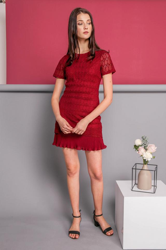 Jaslin Crochet Pleated Dress in Wine Red