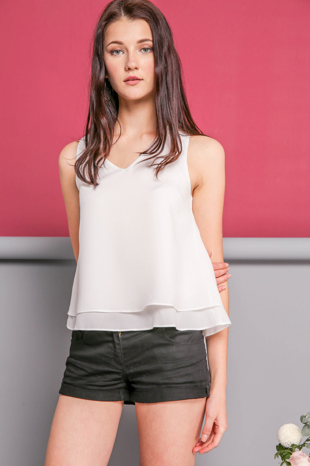 Lilian Double Tiered Basic Top in White