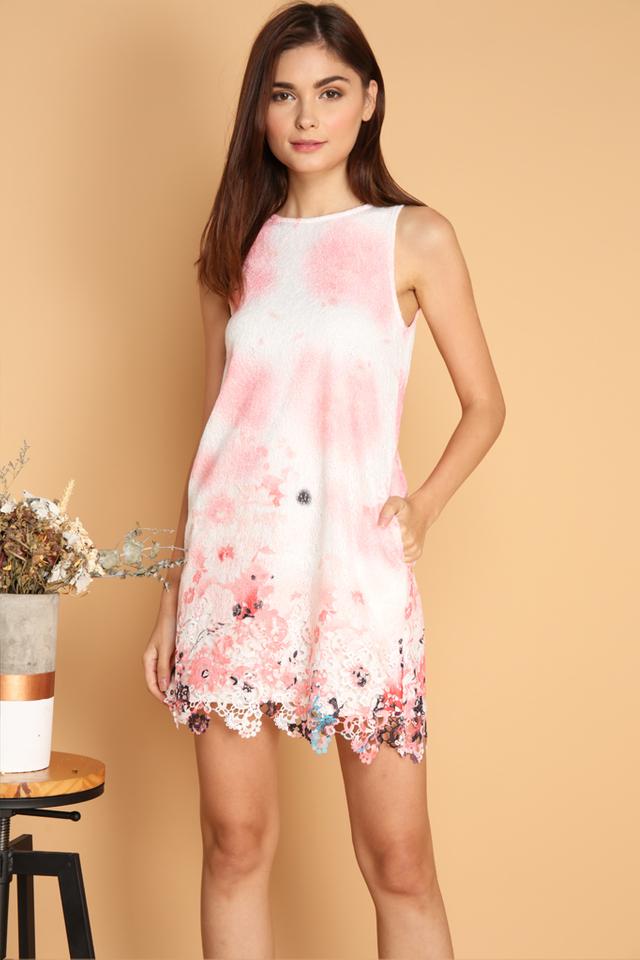 Tristen Flower Crochet Hem Dress in Peach
