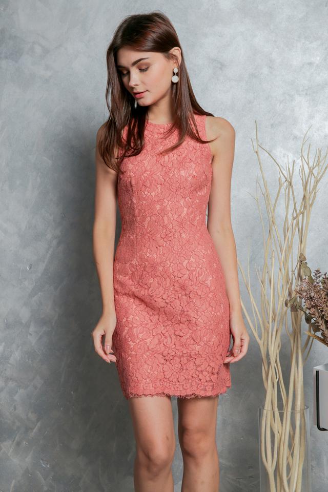 Mavis Floral Lace Dress in Terracotta