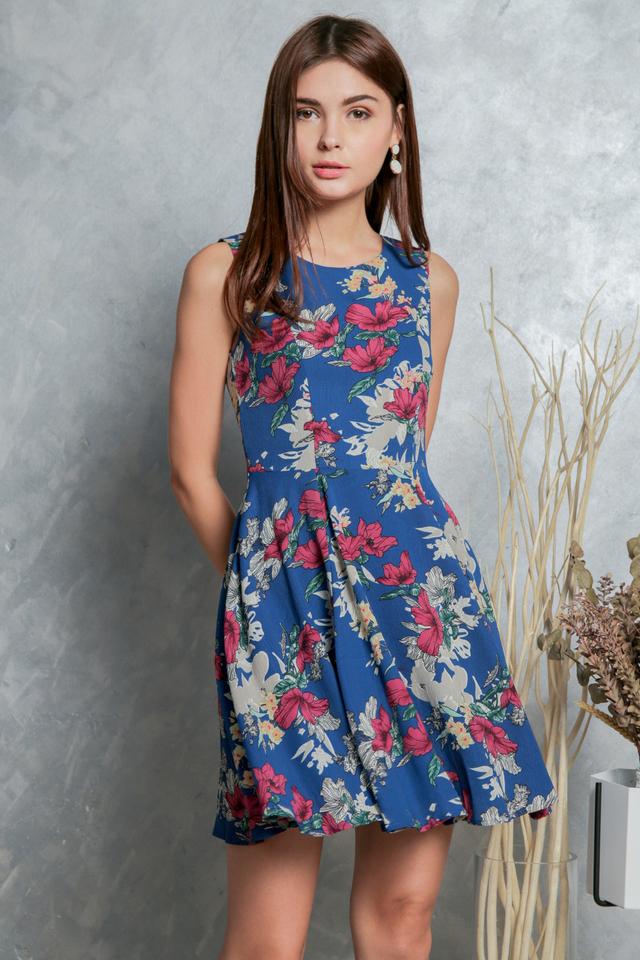 Morgan Floral Flounce Dress in Blue