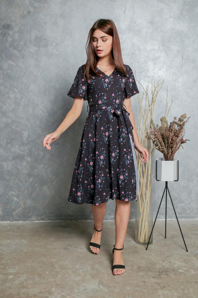 *BACKORDER* Miranda Floral Wrap Midi Dress in Black