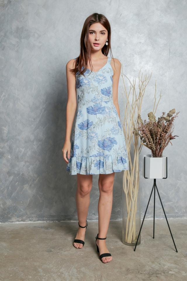 Milicent Floral Dropwaist Dress in Baby Blue (L)