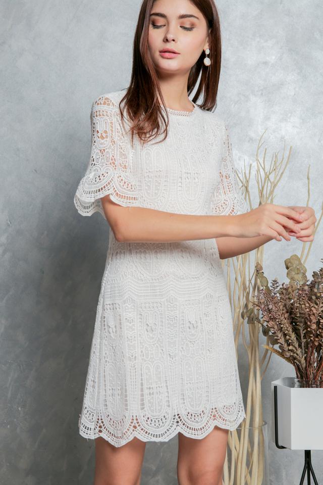 Megan Crochet Shift Dress in White