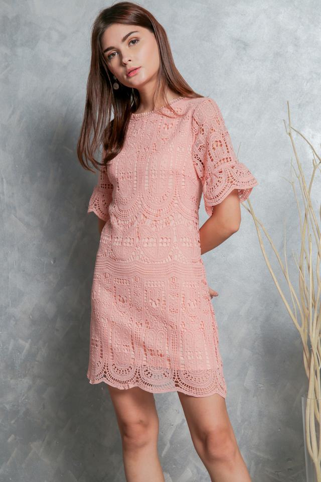 Megan Crochet Shift Dress in Peach (XS)