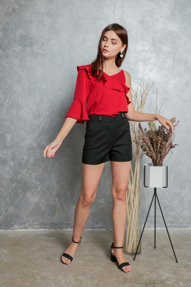 Fania Gold Button Shorts in Black
