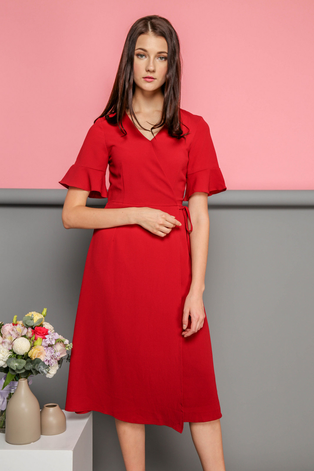 Leona Faux Wrap Midi Dress in Red