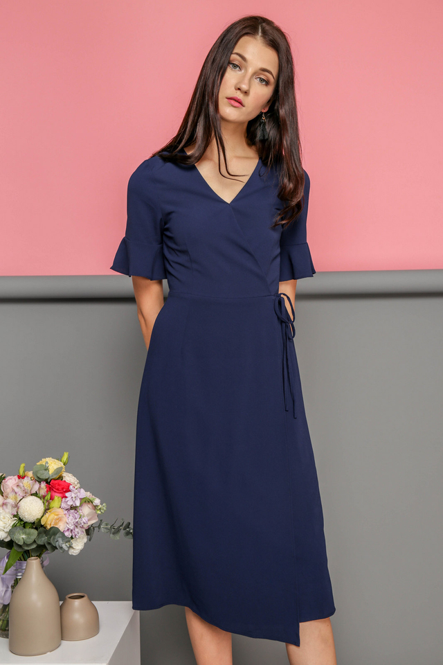 Leona Faux Wrap Midi Dress in Navy