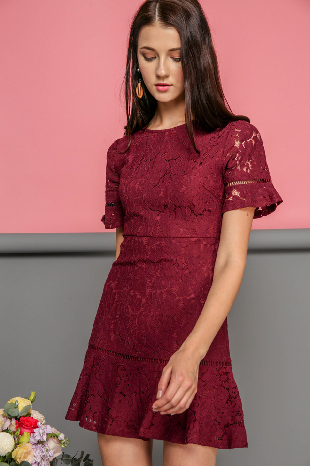 Maren Floral Lace Dropwaist Dress in Wine Red