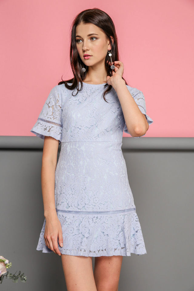 Maren Floral Lace Dropwaist Dress in Powder Blue