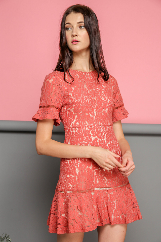 Maren Floral Lace Dropwaist Dress in Terracotta