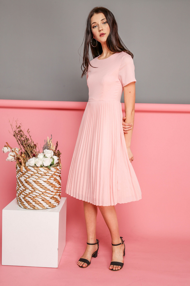 Kate Pleated Midi Dress in Powder Pink