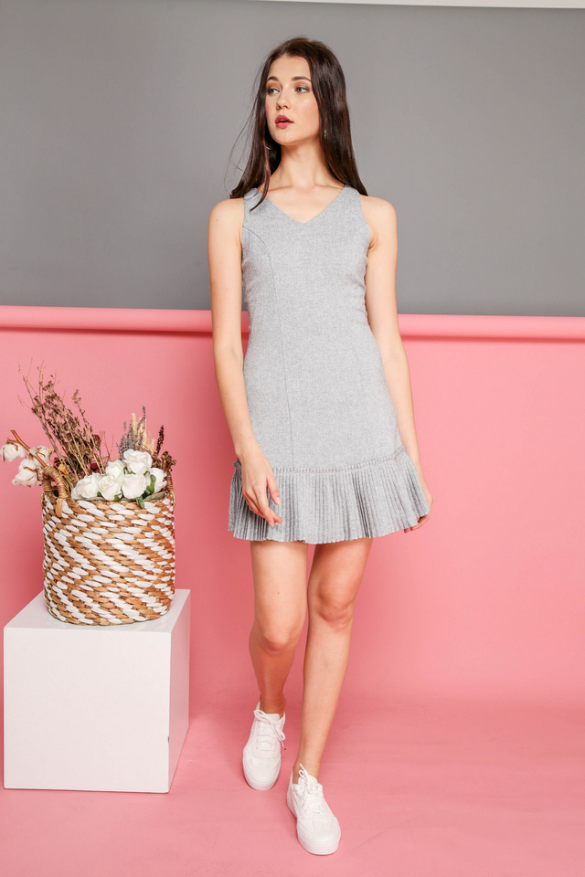 Florence Tweed Pleated Hem Dress in Grey