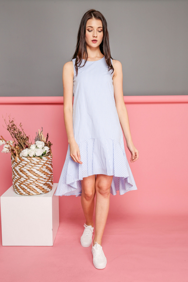 Freya Gingham Ruffled Hem Dress in Blue (L)