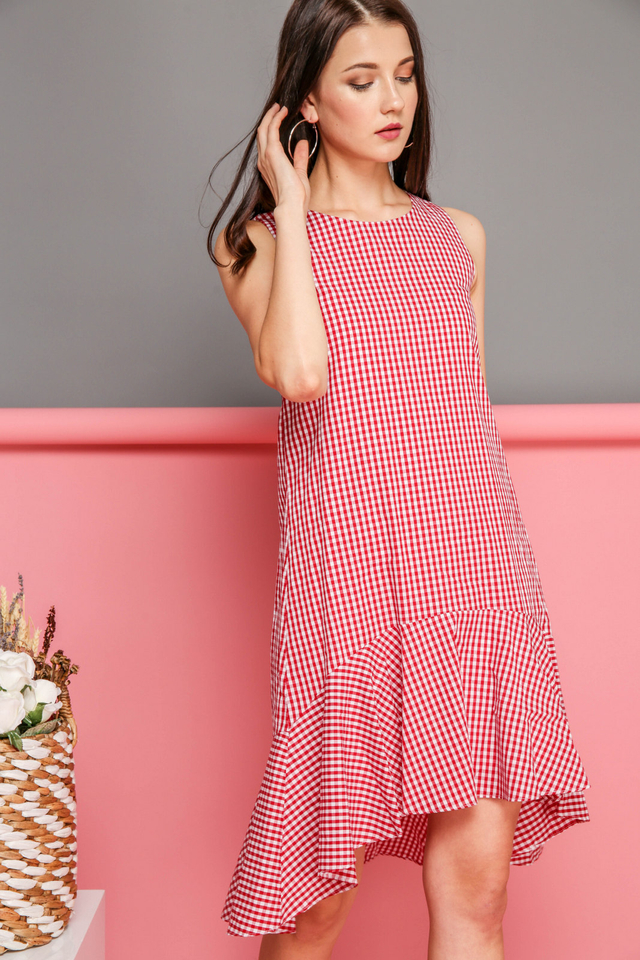 Freya Gingham Ruffled Hem Dress in Red