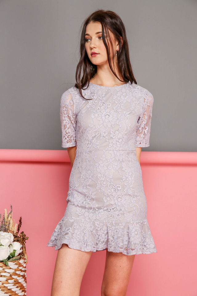 Brielle Lace Dropwaist Dress in Lilac Grey